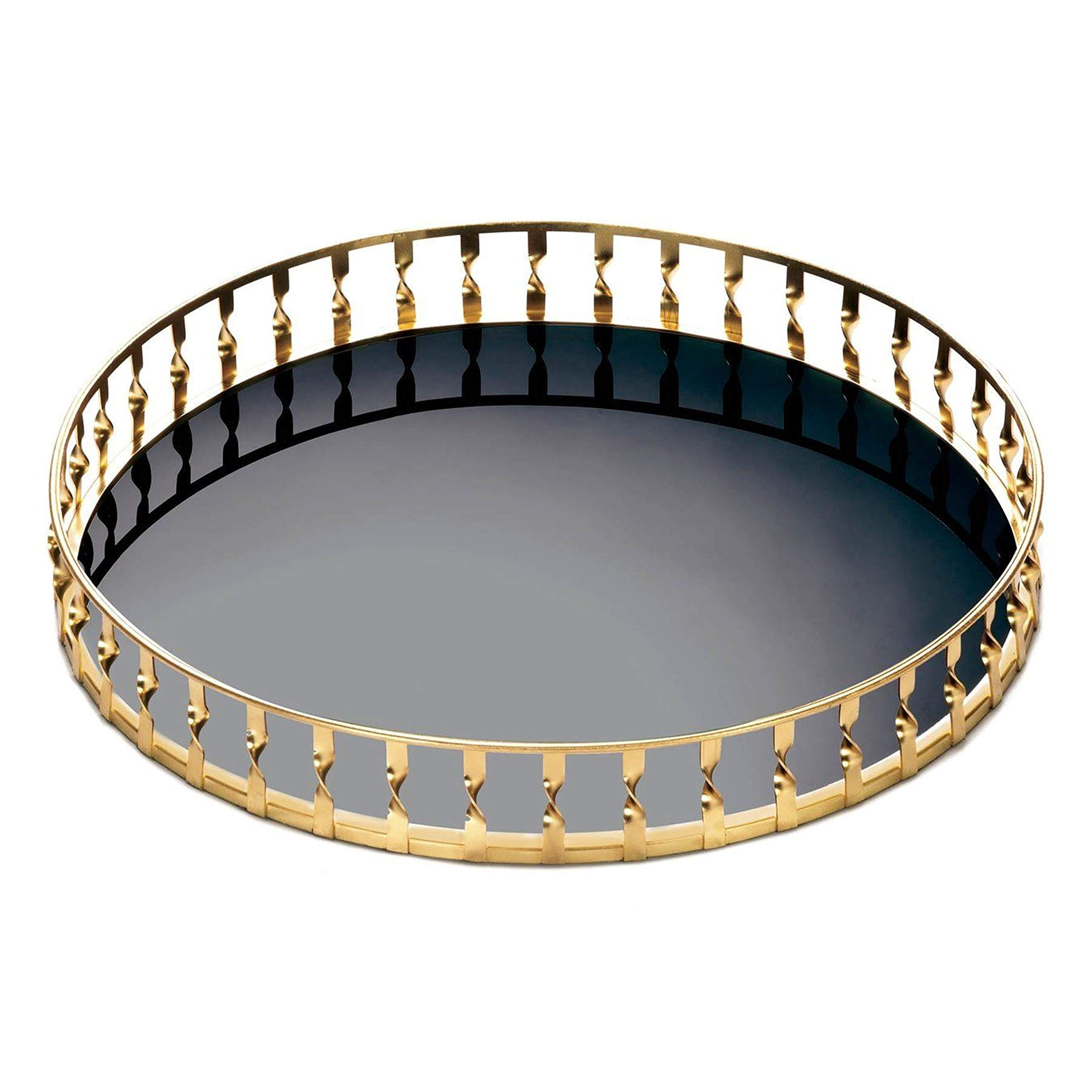 Aspen Tree Round Glass Tray Black Glass Metal Vanity Trays | Bar Trays for Liquor Display | Organizer Decorative Vanity Trays | Home Table Top Modern Accent