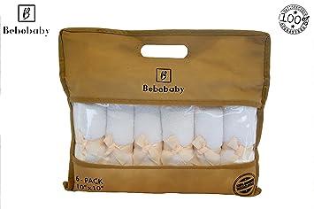 Toallas de bambú para bebés grandes de 10x10 pulgadas de BEBOBABY Toallas bambú orgánicas naturales algodón suave recién nacidos regalo registro Conjunto 6 ...