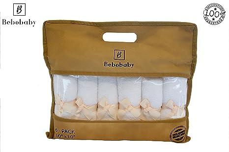 Toallas de bambú para bebés grandes de 10x10 pulgadas de BEBOBABY Toallas bambú orgánicas naturales algodón