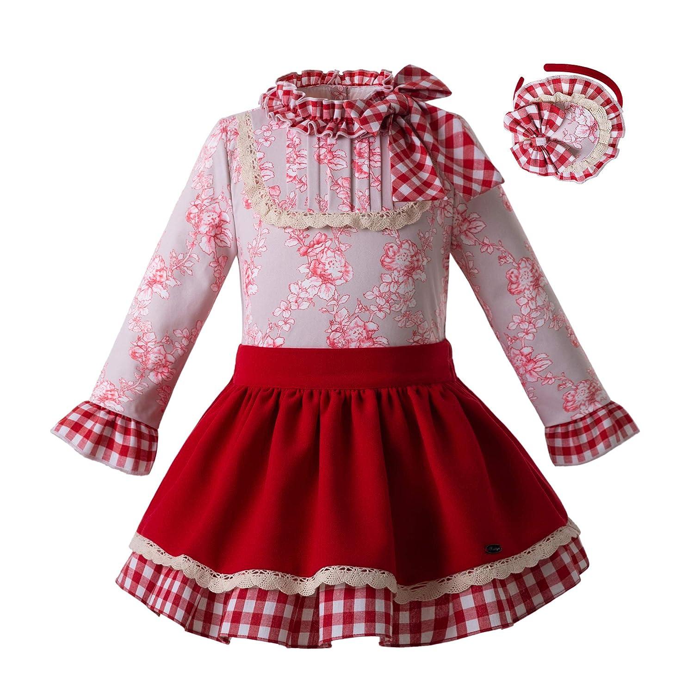 Pettigirl Girls Floral Skirt Sets with Headwear