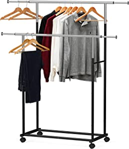 Simple Houseware Standard Double Rod Garment Rack, Black