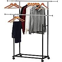 Simple Houseware Standard Double Rod Garment Rack, Black