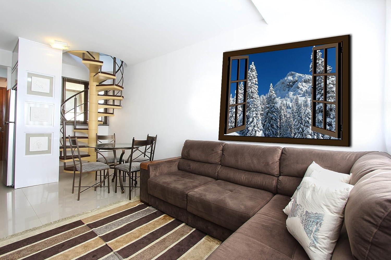 Bild auf Leinwand-Wandbild Keilrahmenbild Fensterblick Winter Schnee Bäume Winterlandschaft fertig gerahmt   (120x80cm, braun)
