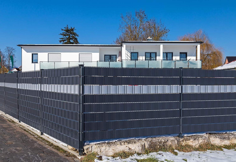 Höhe 19cm Zaun-Sichtschutz HART-PVC keine Folie Sichtschutzstreifen 2,525m