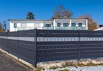 Top Premium Zaunsichtschutz HART-PVC / 9 x Streifen 2,525 m/Höhe 19 cm GP53