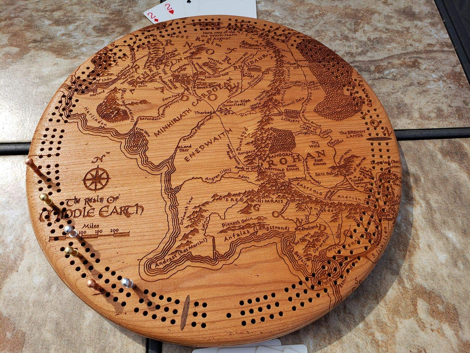 Amazon.com: Middle Earth Map Round Cribbage Board: Handmade on world globe map with names, map of earth with labels, map of earth with degrees, map of earth with cities, map of earth with states, map of earth with countries, map of earth with life, map of earth time,