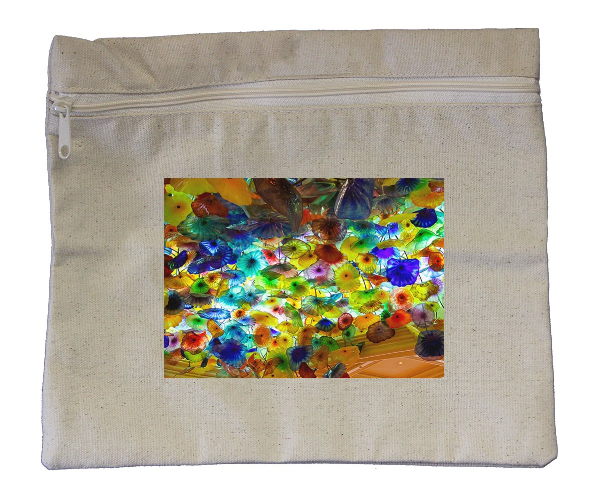 Canvas Zipper Pouch 10''X12'' Flowers Glass On Ceiling In Hotel Style In Print