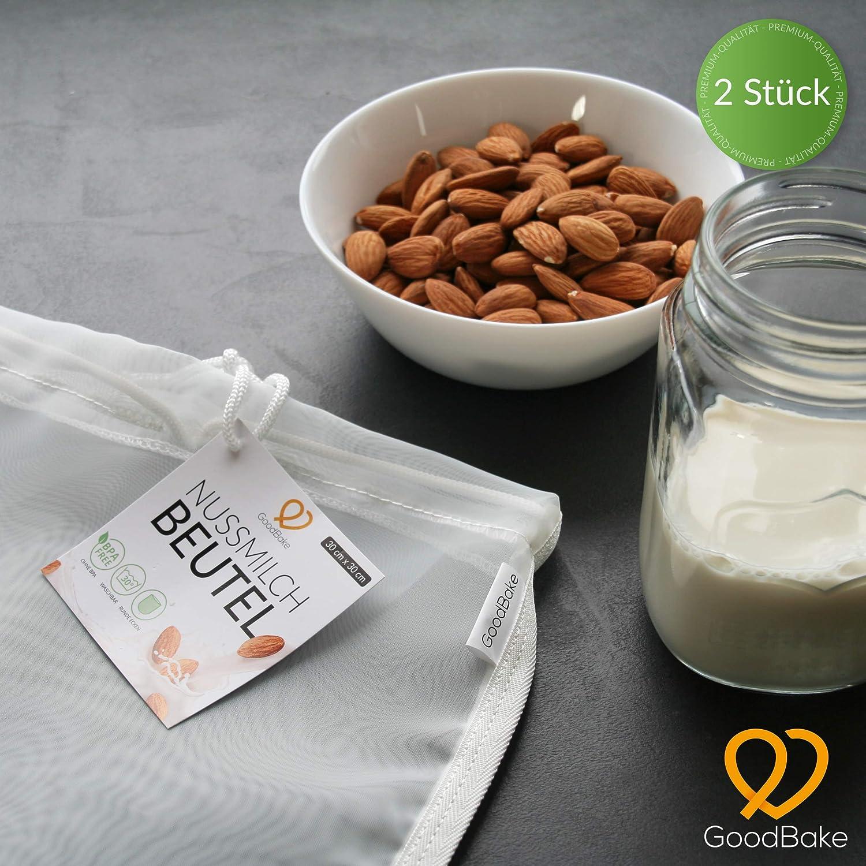 Compra GoodBake - Juego de 2 Bolsas de Leche de Nuez para Leche de almendras Vegana, Leche de Avellana, paño de pasapuré de Malla Fina, paño de Filtro para Batidos y café (