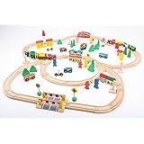 Point Kids - Lote de 100 piezas de madera, diseño de vía del tren