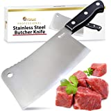 Orblue Stainless Steel Chopper-Cleaver-Butcher Knife, 7-Inch Blade for Restaurant or Home Kitchen