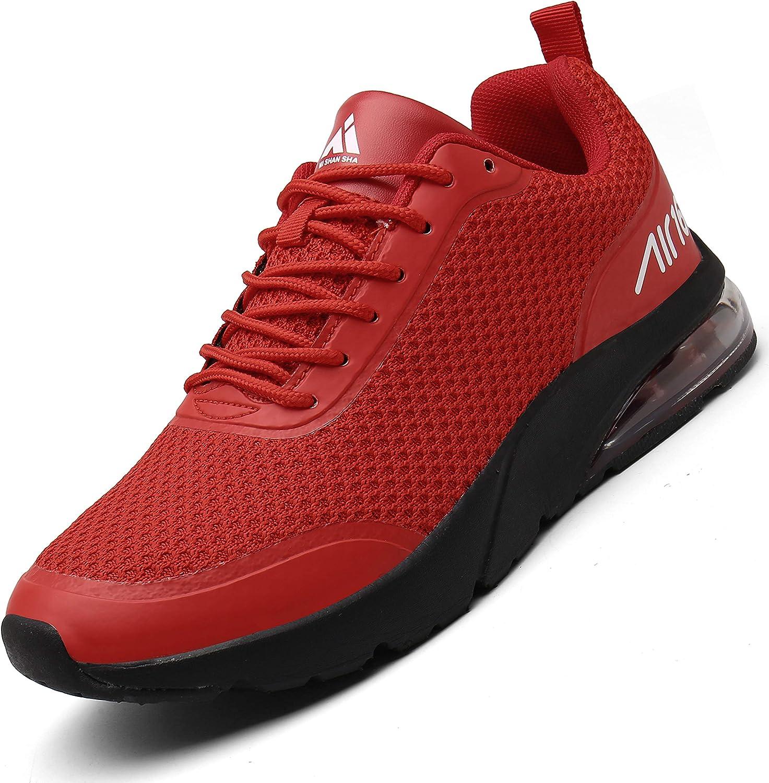 Mishansha Zapatillas de correr para hombre y mujer, amortiguación, antideslizantes, transpirables, ligeras, zapatillas de deporte, talla 36 – 46, color Rojo, talla 43 EU: Amazon.es: Zapatos y complementos