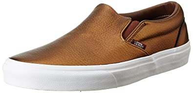 21b137cadaa9e6 Vans Unisex Classic Slip-On (Metallic Leather) Saddle Brown Leather Loafers  and Moccasins