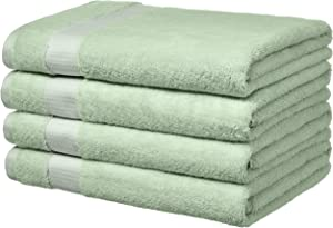 AmazonBasics Everyday Bath Towels, Set of 4,Seaglass Green, 100% Soft Cotton, Durable