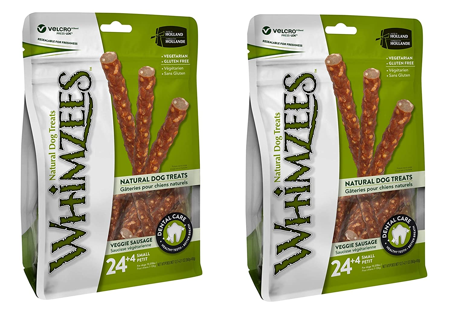 Whimzees 2 Pack of Small Veggie Sausage Dog Dental Chews, 28 Treats Each