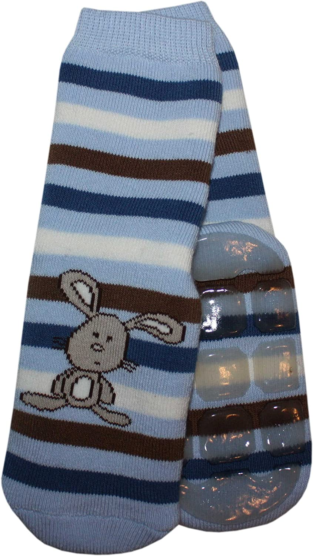 Weri Spezials Baby und Kinder Voll-ABS Voll-Frotee Ringel Hase Socke Stopper Socken Anti-Rutsch Socken in Hell Blau