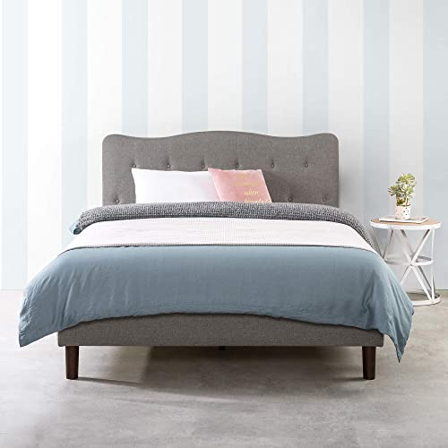 MELLOW Janne Upholstered Platform Bed Modern Tufted Headboard Real Wooden Slats and Legs, Queen, Classic Grey