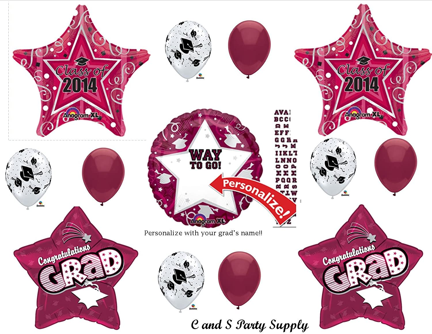 2014 graduation decorations - Amazon Com Burgundy Maroon Graduation Class Of 2014 Personalized Party Balloons Decorations Supplies Kitchen Dining