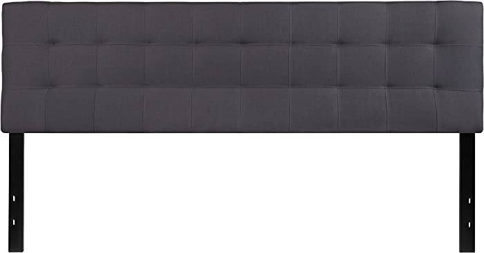 Flash Furniture Bedford Tufted Upholstered King Size Headboard in Dark Gray Fabric