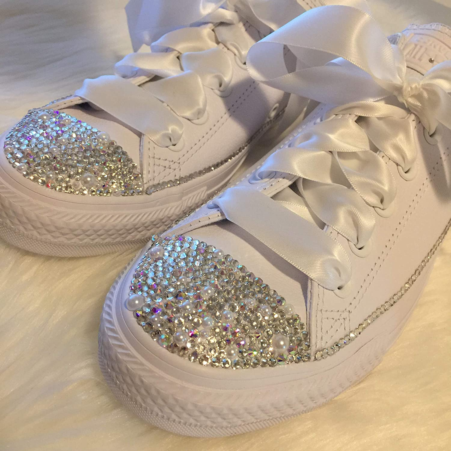479db95623e6 Amazon.com  Bedazzled Wedding Shoes Swarovski Bridal All Star Chucks  Sneakers for the BRIDE All White Custom with Pearls and Bling for  Quinceañera or Prom  ...