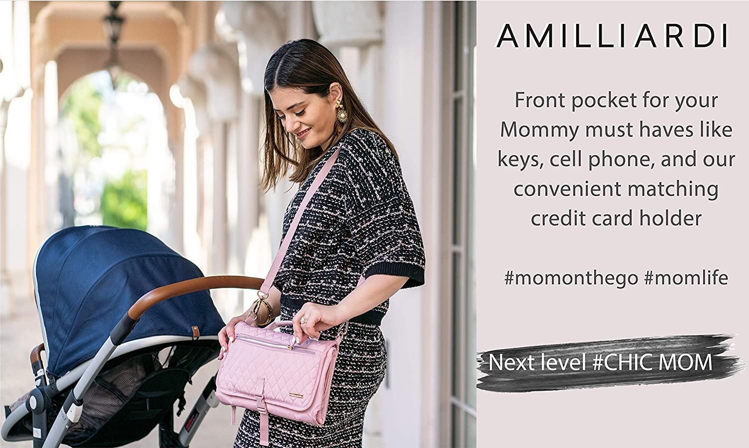 Newborn,Travel,Hook-on Shoulder Strap,3 Zipped Pockets. AMILLIARDI Stylish Diaper Changing Pad Portable with Credit Card Holder gift Changing Mat Foldable,Removable Pad for Baby Light Pink Infant