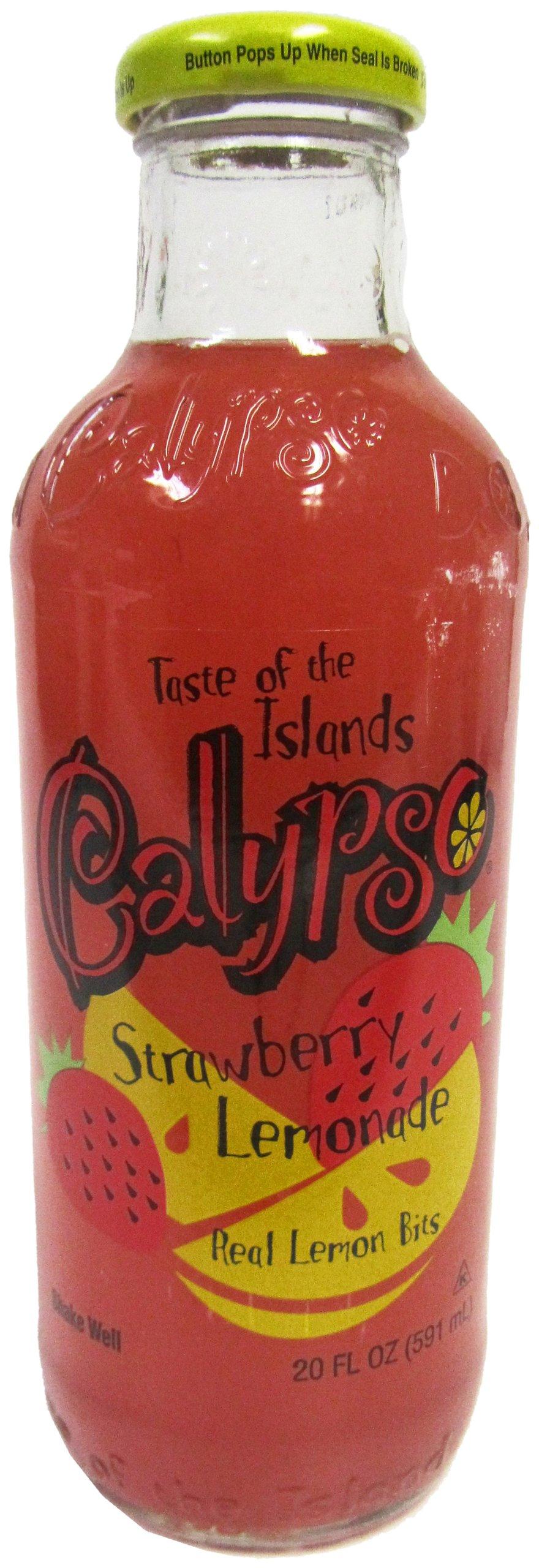 Calypso STRAWBERRY LEMONADE ''Strawberry Fields & Lemon Groves Forever!'', 20-Ounce Glass Bottle (Pack of 12)
