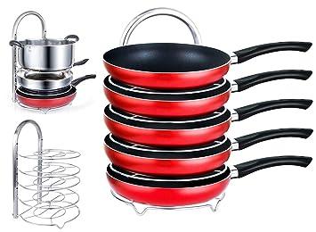 EVER RICH ® - Organizador de ollas con altura ajustable, 5 estantes, para cocina, armario de cocina, encimera, encimera (negro) (Silver): Amazon.es: Hogar