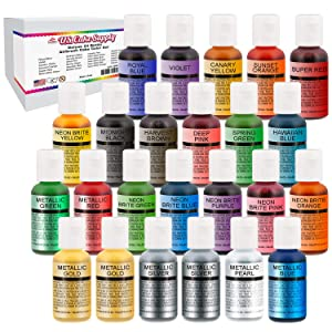 U.S. Cake Supply Deluxe 24 Bottle Airbrush Cake Color Set - The 22 Most Popular Colors in 0.7 fl. oz. (20ml) Bottles Bonus Color Mixing Wheel - Safely Made in the USA product
