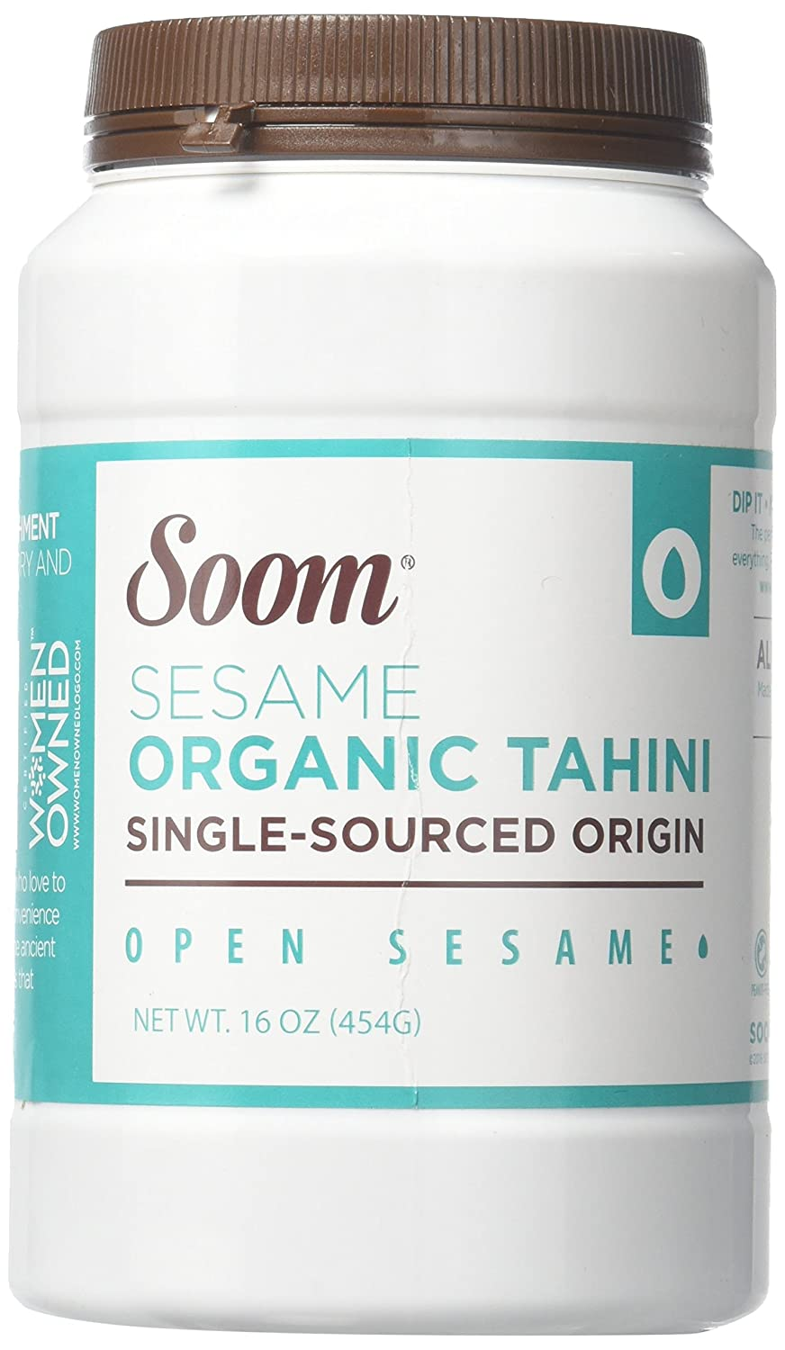 Soom Foods Organic Pure Ground Sesame Tahini Paste, 16oz