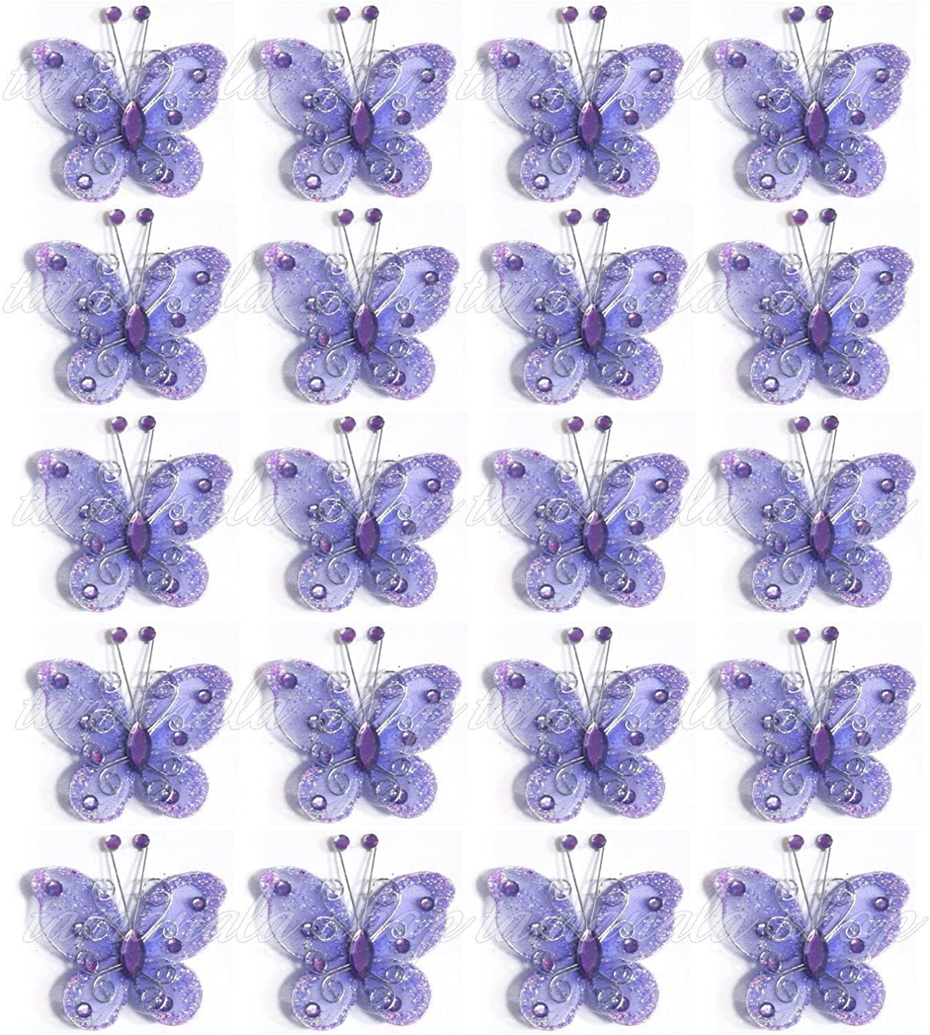 12 Glitter Butterfly Embellishments for cards  and crafts purple//blue//pink//green