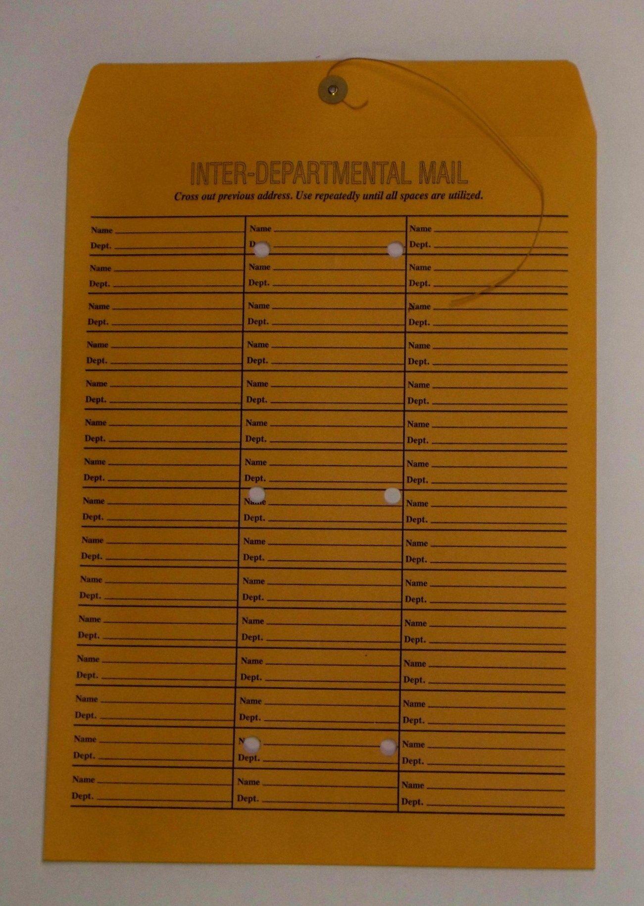 Interdepartmental String-Tie Envelopes, 12 x 16 (Pack of 100) 71 Entries Per Envelope, Printed On Both Sides