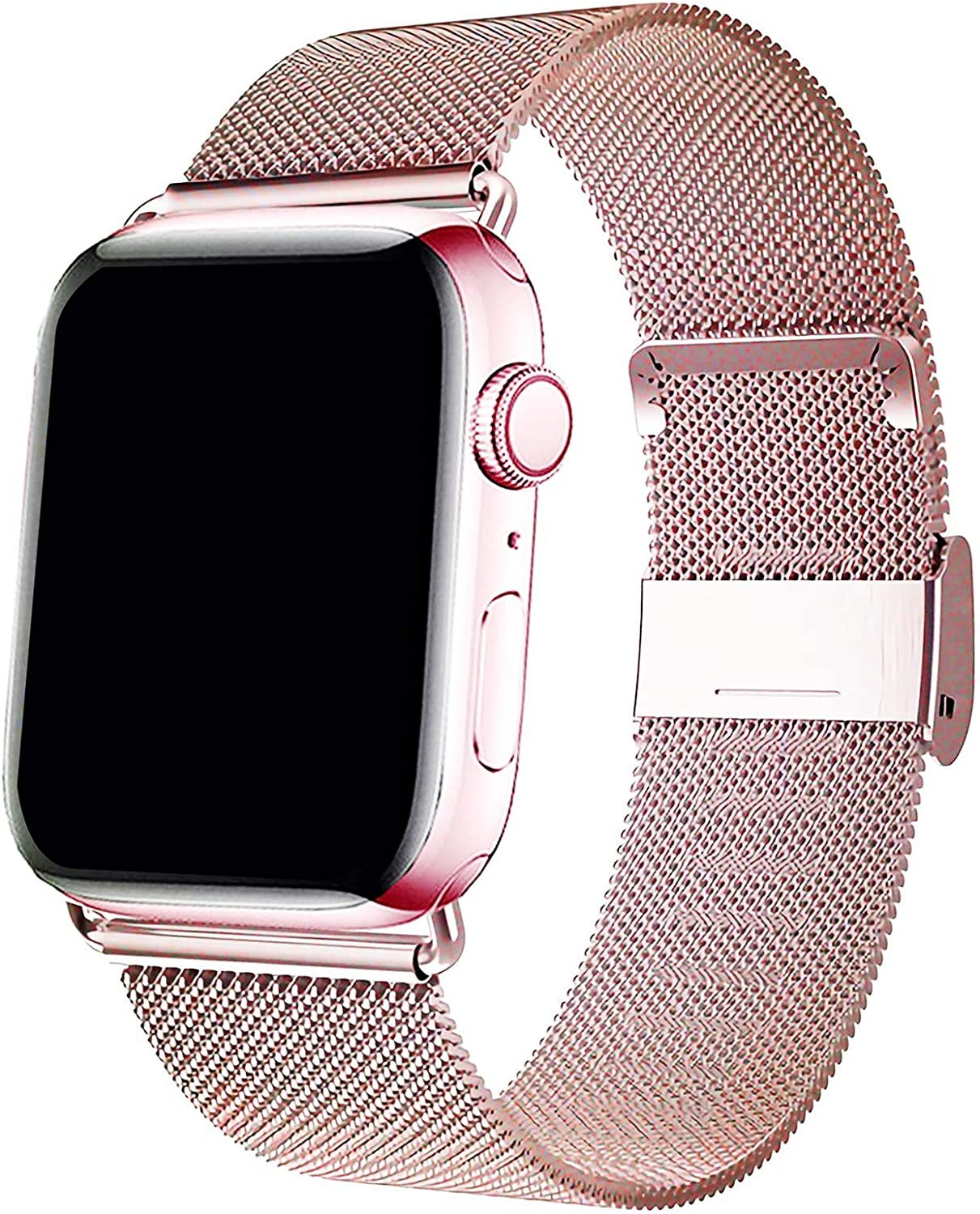 HenMerry Compatible for Apple Watch Band 42mm 44mm 38mm 40mm , Adjustable Stainless Steel Mesh Wristband Sport Loop for iWatch Series 1 2 3 4 5 (RoseGold, 42mm/44mm)