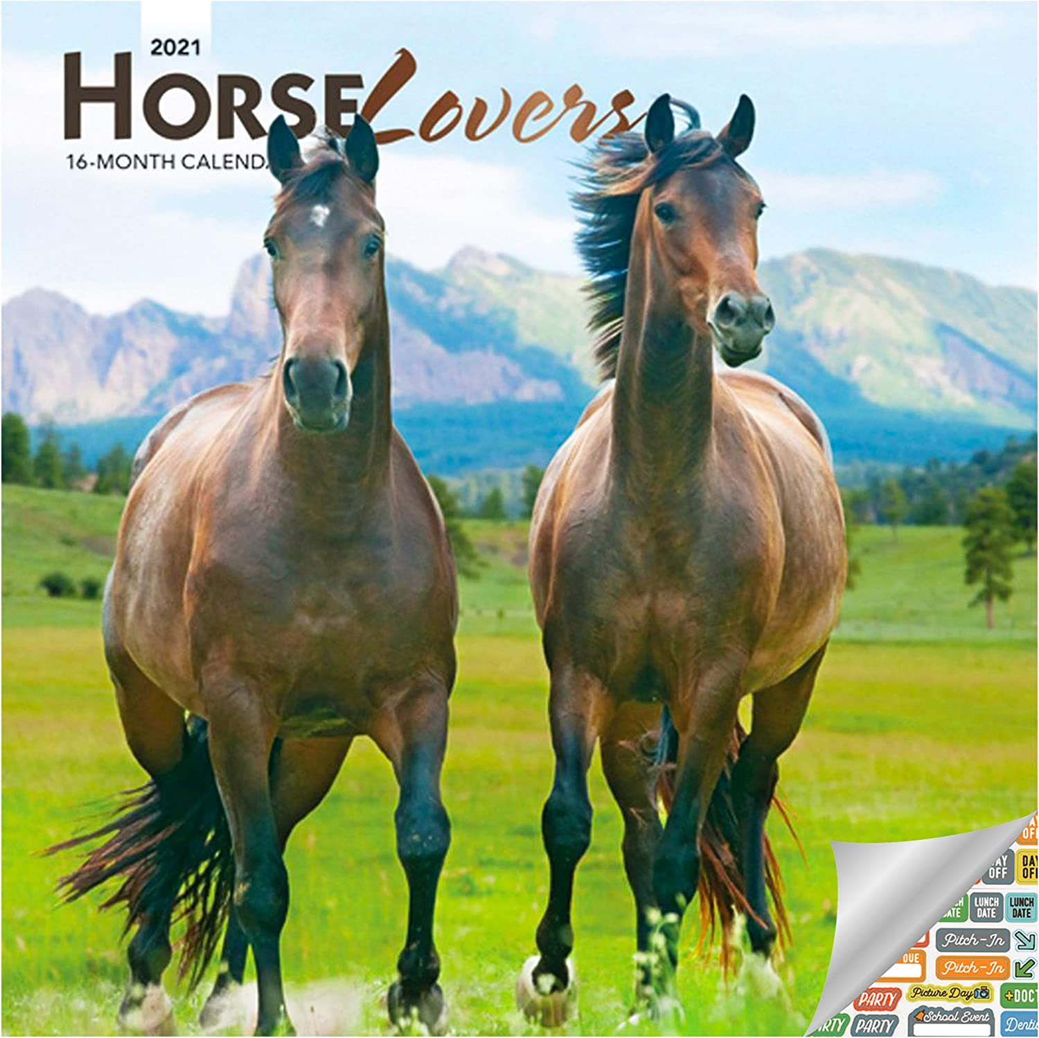 Horse Lovers Calendar 2021 Bundle - Deluxe 2021 Horses Mini Calendar with Over 100 Calendar Stickers (Horse Gifts, Office Supplies)