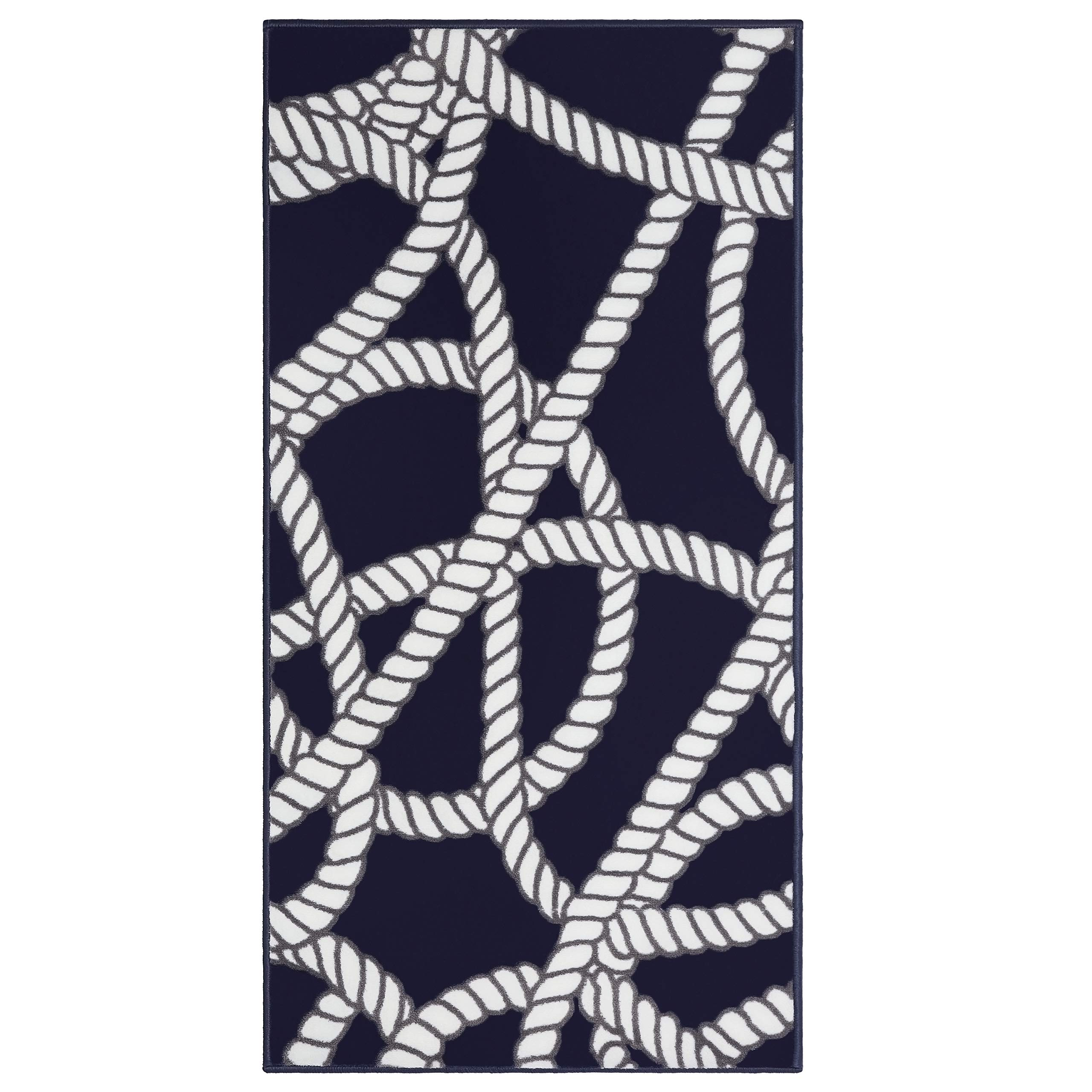Evolur Home Belmar Nautical Nursery Rug/Bedroom/Livingroom/BabyPlaymat/ChildrensRug/PlayRug/KidsRug/Floormat 55'x31.5'in Navy with White Border by Evolur