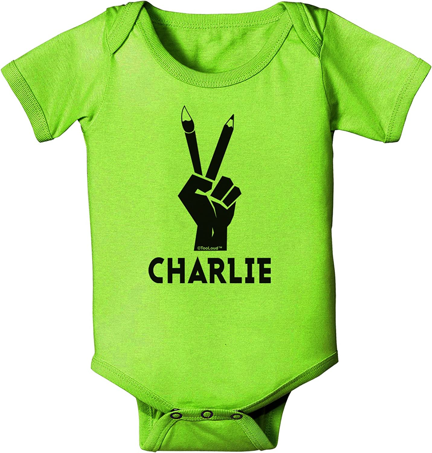 TooLoud Hand Peace Sign Charlie Design Infant T-Shirt Dark