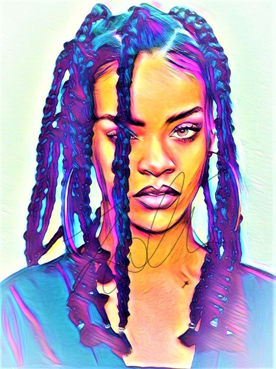 Rihanna Abstract Drawing Print Poster Hand Drawn Pop Art Vibrant Painting #RIHANNA_ABSTRACT1: Amazon.es: Handmade