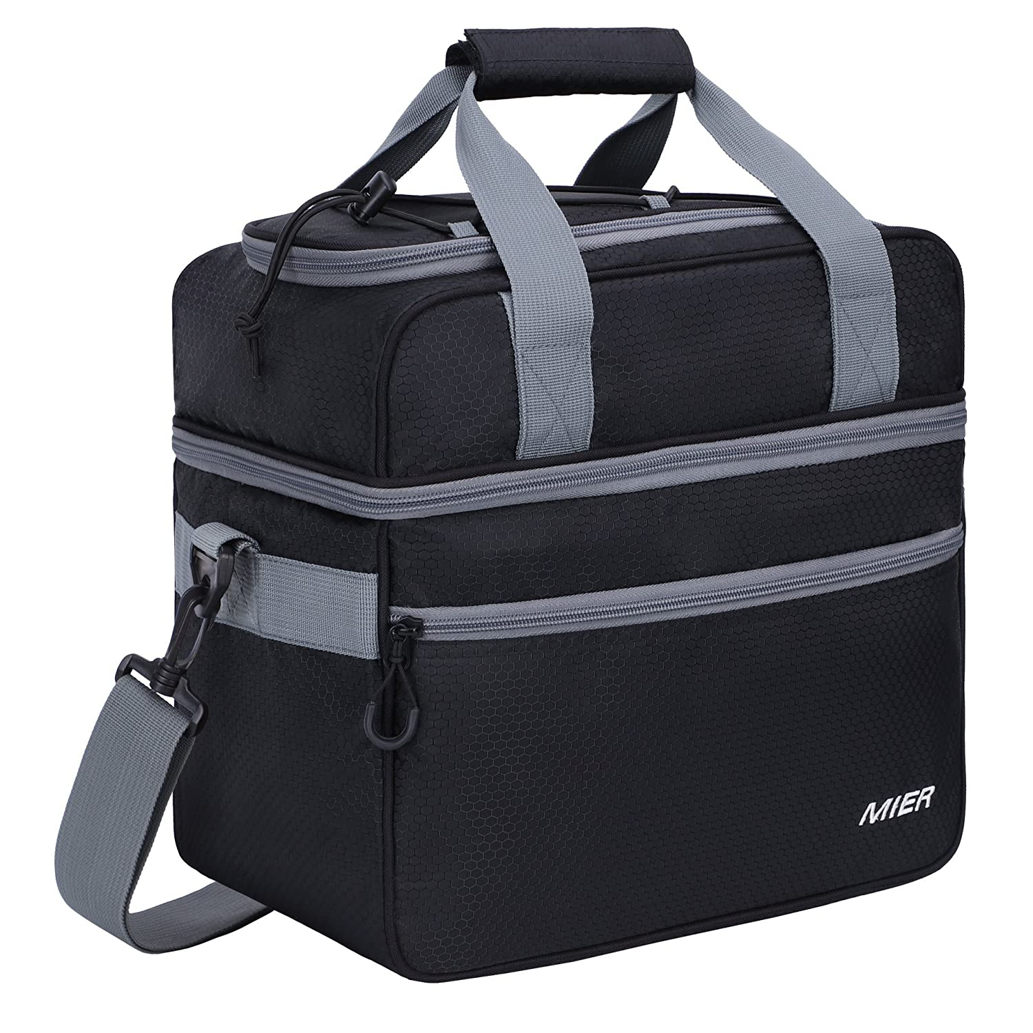 MIER Double Compartment Cooler Bag Large Insulated Bag Lunch, Picnic, Beach, Grocery, Kayak, Travel, Camping, Black 10100040-207-A