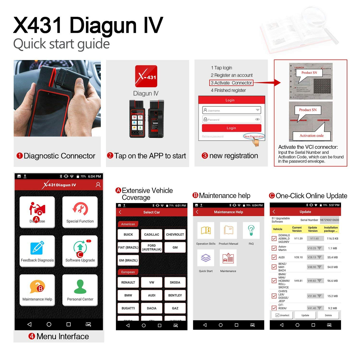 Launch X431 DIAGUN IV Bi-directional Automotive Diagnostic Tool OBD2 Scanner Code Reader with Wifi & Bluetooth Covering 108 Vehicle Makes, 2 Years Free Update by LAUNCH (Image #6)