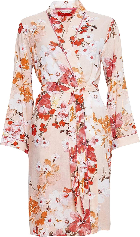Cyberjammies 4429 Womens Darcie Coral Orange Floral Print Cotton Short Robe