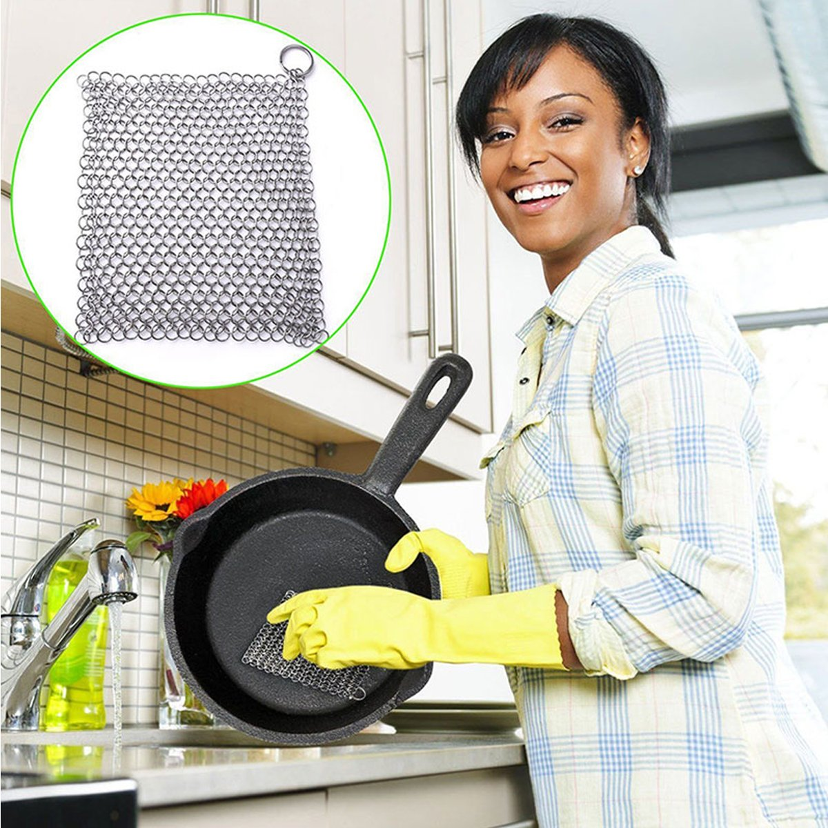 Stainless Steel Cast Iron Cleaner - 361 Stainless Steel Cast Iron Rings Cleaner Chainmail Scrubber for Kitchen Pre-Seasoned Pan Dutch Ovens Waffle Iron Pans Scraper Grill Skillet Scraper,XXL 8x8 Inch