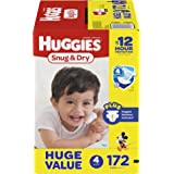 HUGGIES Snug & Dry Diapers, Size 4, 172 Count, HUGE PACK (Packaging May Vary)