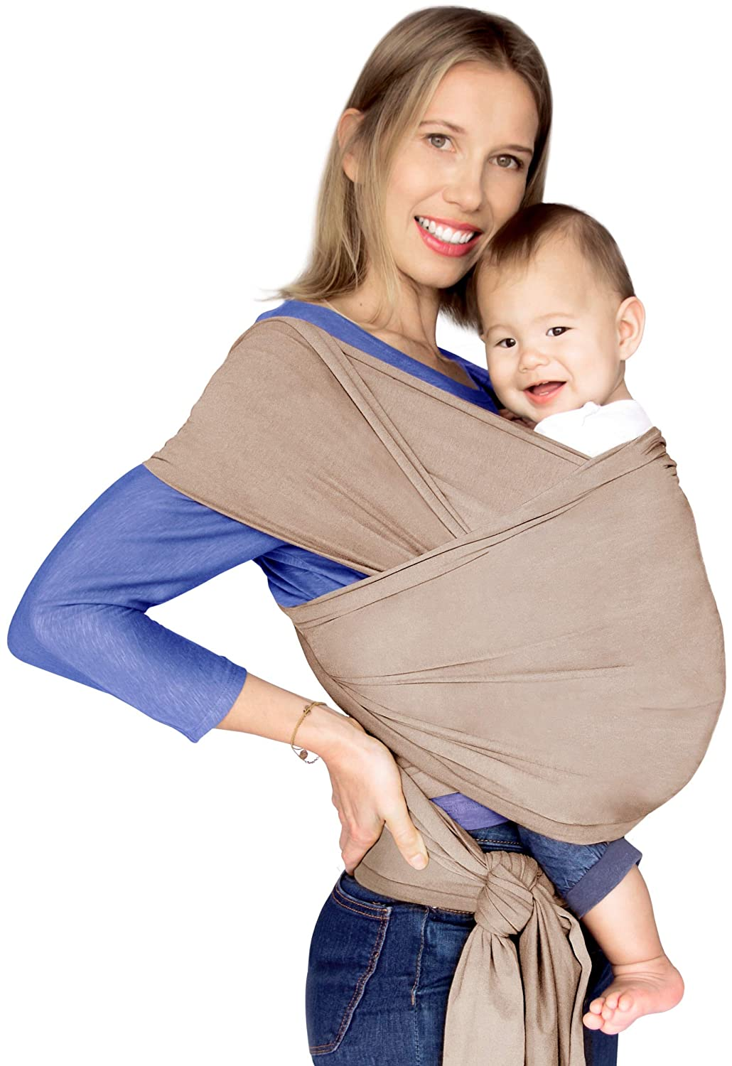 520371ac328 Amazon.com   Baby Wrap Carrier Newborn - Sling Swaddle Stretchy Baby Wraps  for Infant and Babies - Extra Soft Luxurious   Breathable Peruvian Cotton -  Hands ...