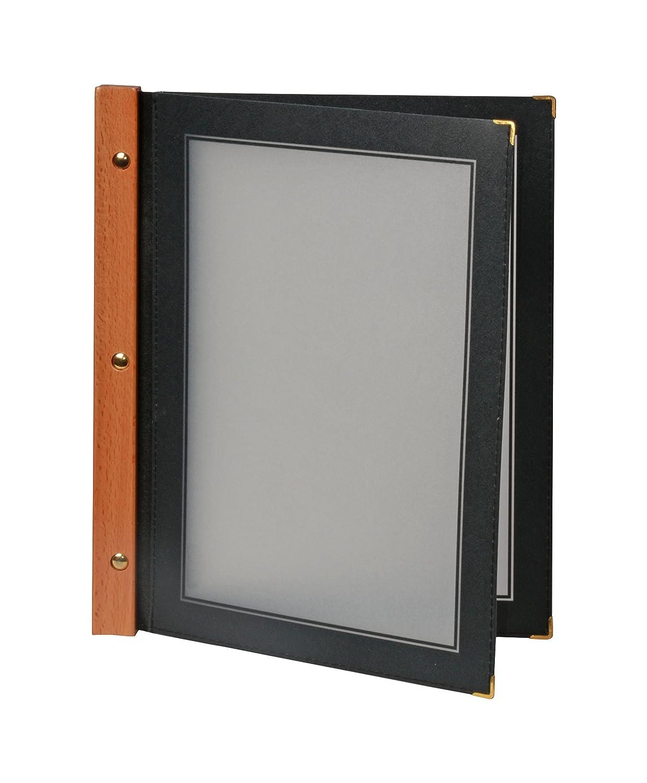 Securit legno porta menu A4con 2inserti double-face, nero (mc-wra4-bl), Brown, 370 x 260 x 15mm. MC-WRA4-BR