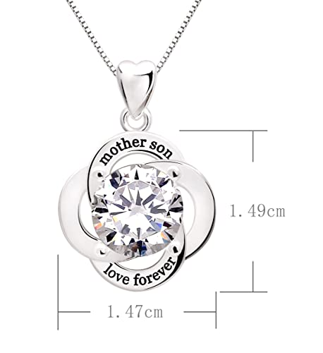 ALOV Jewelry Sterling Silver Mother Son Love Forever Cubic Zirconia Pendant Necklace