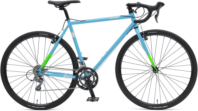 Retrospec Bicycles AMOK-16 Cyclocross Sixteen Speed Bike with Chromoly Frame, Hi-Vis Blue Green, 50cm Small