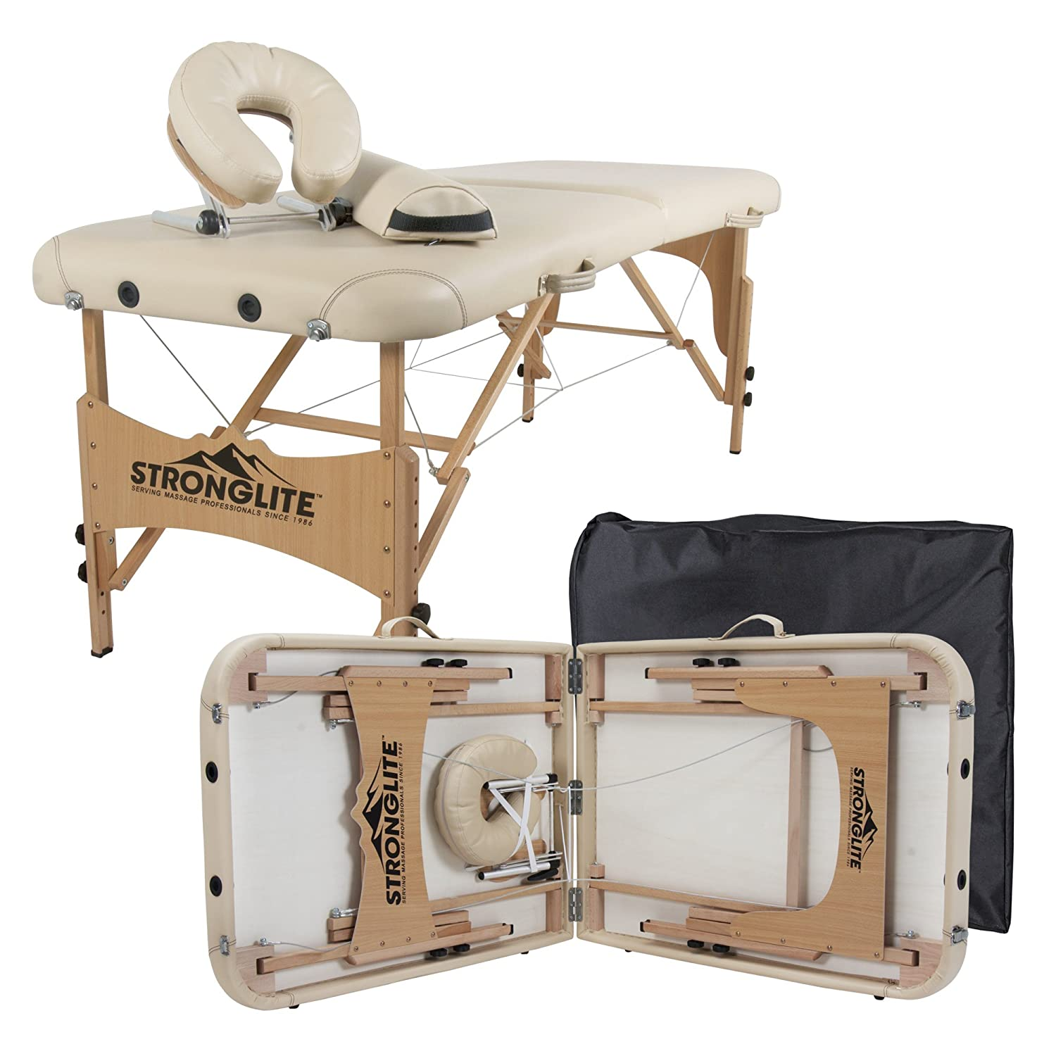 Stronglite Portable Massage Table Package Olympia - All-In-One Treatment Table w/ Adjustable Face Cradle, Pillow, Half Round Bolster & Carrying Case (28x73) 23065