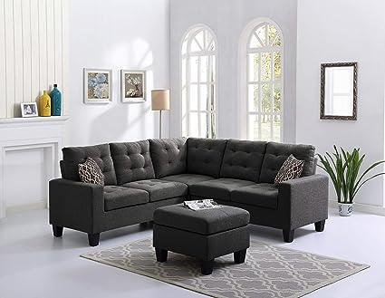 Amazon Com Washington Sectional Sofa With Ottoman In Steel Grey