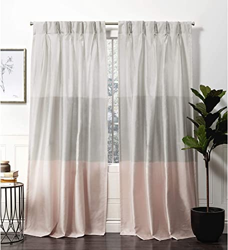 Exclusive Home Curtains Chateau Pinch Pleat Curtain Panel, 54×96, Blush, 2 Panels