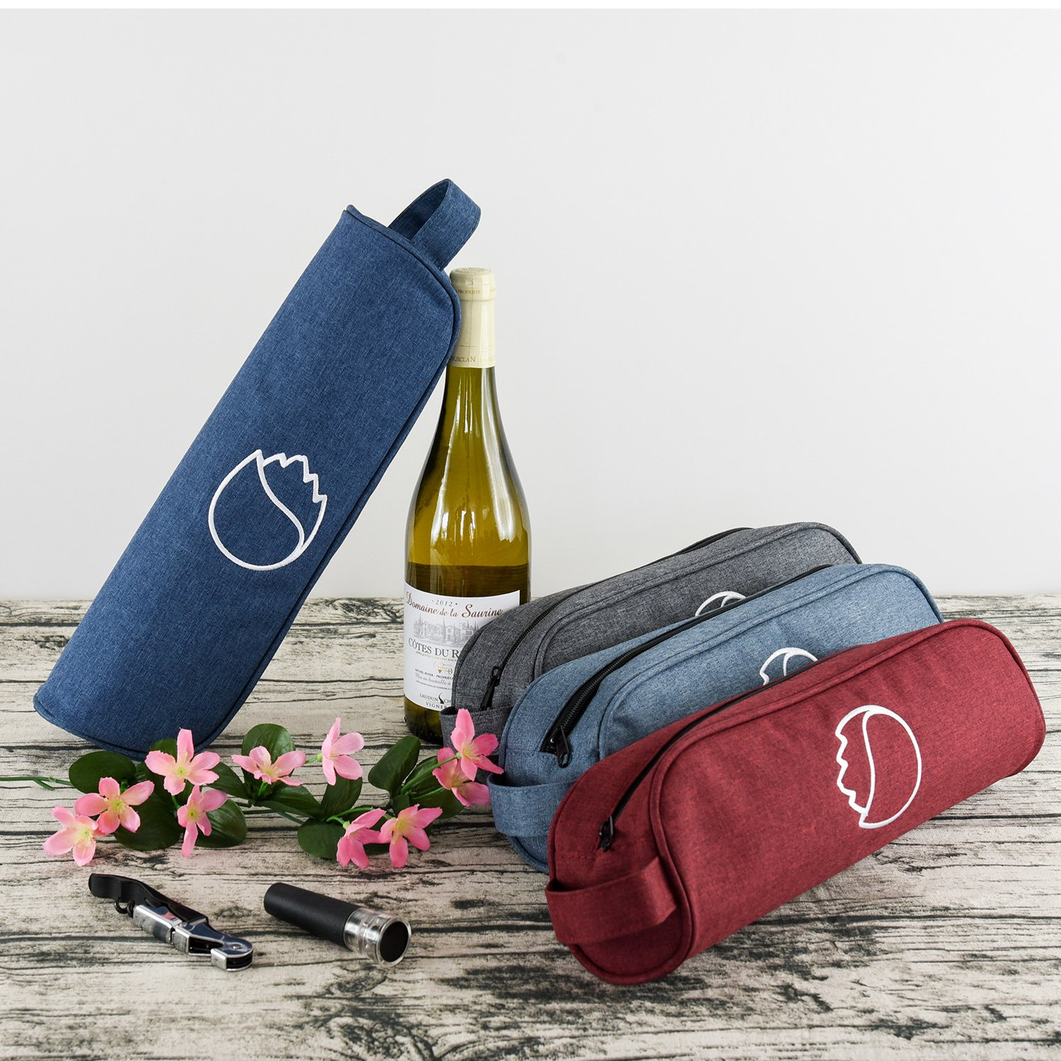 Freshore Insulated Single Wine Tote Bag Carriers For Cooler Restaurant As Gift - Firmly Store Corkscrew (Gray Blue) by Freshore (Image #7)