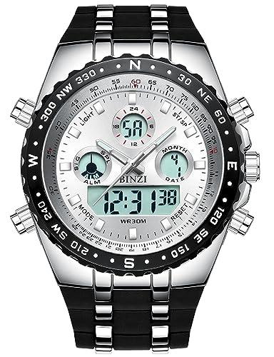 Relojes Deportivos para Hombre de Cara Grande al Aire Libre Militar Digital Reloj de Pulsera Impermeable Reloj retroiluminación cronógrafo Relojes para ...
