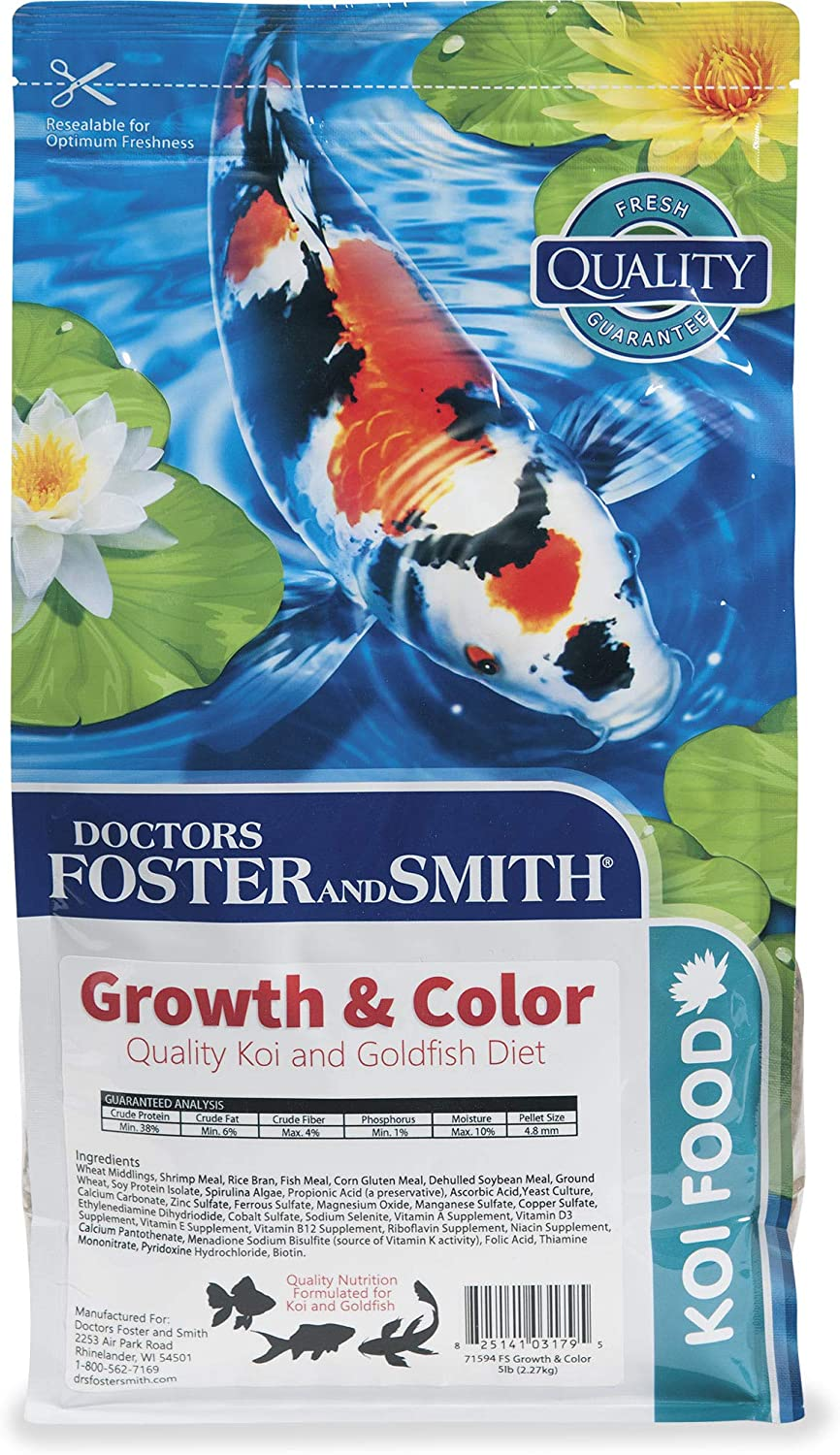 DRS. Foster and Smith Growth & Color Quality Koi and Goldfish Food, 5 lbs.